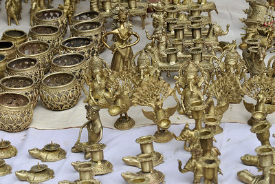 Metal items for sale at Suraj Kund Mela 2008, Haryana, North India. The Suraj Kund Mela is an annual fair held near Delhi. Folk dances, handicrafts and a lot of fun.