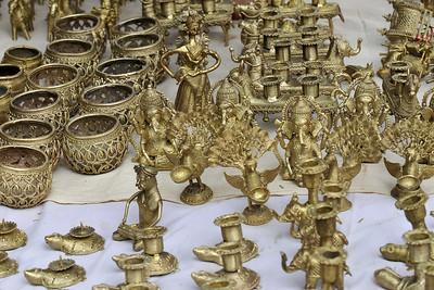 Metal items for sale at Suraj Kund Mela 2008, Haryana, North India. The Suraj Kund Mela is an annual fair held near Delhi. Folk dances, handicrafts and a lot of fun.