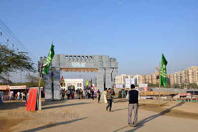 Entrance & Exit of the Surajkund Mela.  Surajkund Crafts Mela 2011 held near Delhi in Faridabad, Haryana, North India. The annual Suraj Kund Mela (fair) is an event held in February each year where artisans, craftsmen, musicians & dancers come together and entral thousands of visitors. It is also a great shopping bonanza and delight to the palate with the range of food.