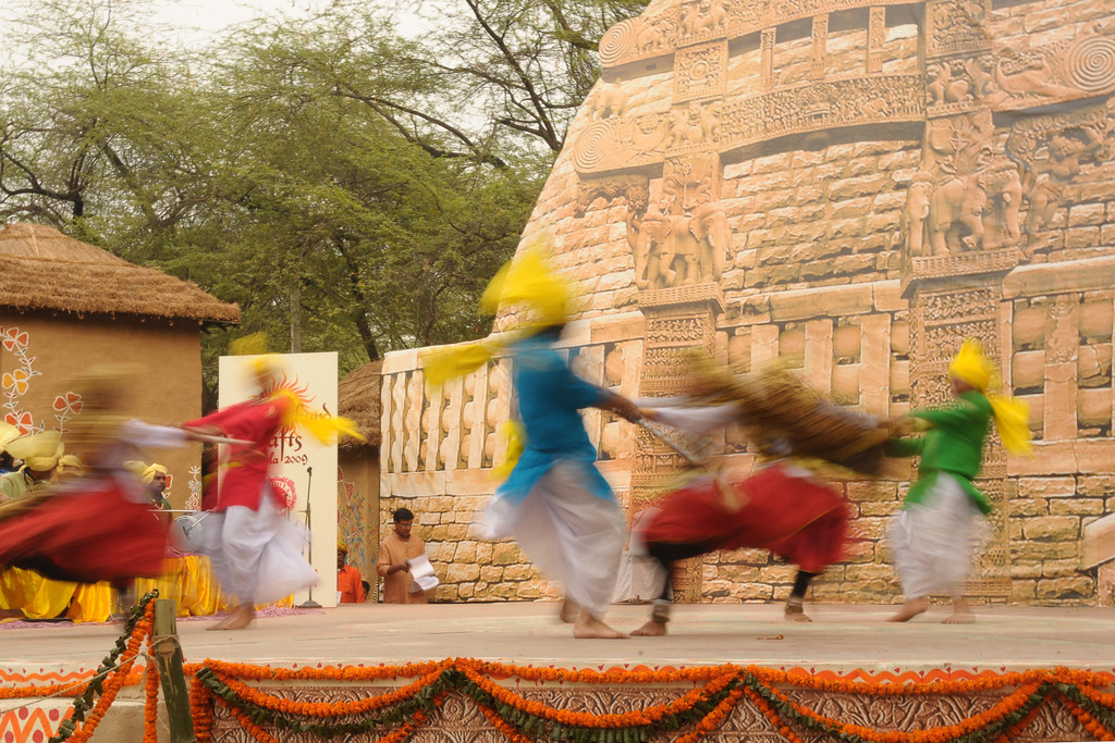 The Haryanvi Group perform their dance at the open theatre called Chaupal at Suraj Kund Mela 2009 held in Haryana (outskirts of Delhi), North India. The Suraj Kund Mela is an annual fair held near Delhi. Folk dances, handicrafts and a lot of fun.