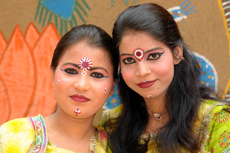Beenu Mishra from Goverdhan (Mathura) before their Radha-Krishna dance in the open theatre called Chaupal at Suraj Kund Mela 2009 held in Haryana (outskirts of Delhi), North India. The Suraj Kund Mela is an annual fair held near Delhi. Folk dances, handicrafts and a lot of fun.