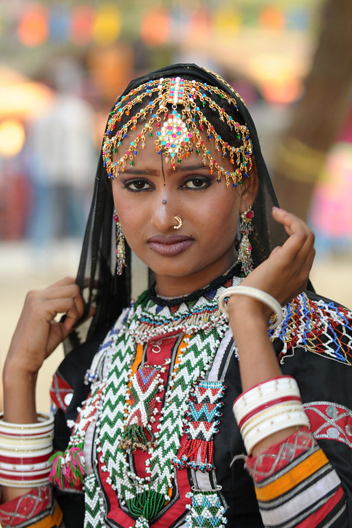 Portrait of lady artist Radha Sapera, from the Rajki-Puran Nath Sapera & Party, Jaipur. Performers from around the country came to the Suraj Kund Mela 2009 held in Haryana (outskirts of Delhi), North India.
