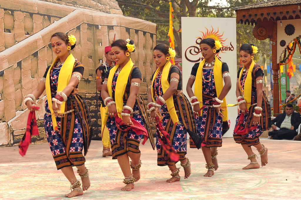 Dance in the open theatre called Chaupal at Suraj Kund Mela 2009 held in Haryana (outskirts of Delhi), North India. The Suraj Kund Mela is an annual fair held near Delhi. Folk dances, handicrafts and a lot of fun.