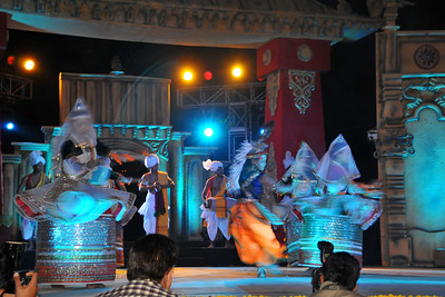 Basanta Raas, Manipur is one of the five traditional Manipur Raas leelas based on the Bhagavata tradition of the Sringara Rasa of Lord Krishna and his gopis led by Shrimati Radhika. The gopis led by Radha respond to the flute of the Lord and dance together.  The performance of North East Octave Group added to the majestic splendour of the Mela. Octave 2010 brought the rich cultural diversity and hertiage from eight North-Eastern states of India - Assam, Meghalaya, Tripuar, Manipur, Mizoram, Nagaland, Arunachal Pradesh, and Sikkim. In association with Ministry of Culture, Government of India and North Central Zone Cultural Centre, Allahabad. This performance was the largest group performers at the Surjakund Crafts Mela 2010 held in February in Faridabad, Haryana, India.