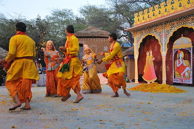Birj Ki Holi (Radha Kishan) by dancers from Goverdhan (Mathura)  perform at the open theatre called  Chaupal at the Suraj Kund Crafts Mela 2010 which is an annual fair held in Haryana near Delhi in February.