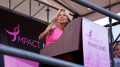 Close to 50,000 breast cancer survivors and activists descended on the National Mall in Washington D.C. on June 5, 2010 for the 21st annual Susan G. Komen Global Race for the Cure. Honorary Chair, Dr. Jill Biden, a long-time advocate for breast health education and wife of Vice President Joe Biden, addressed the day's participants during the opening ceremonies. The event raises millions of dollars for the fight against breast cancer. (Photo by Jeff Malet)