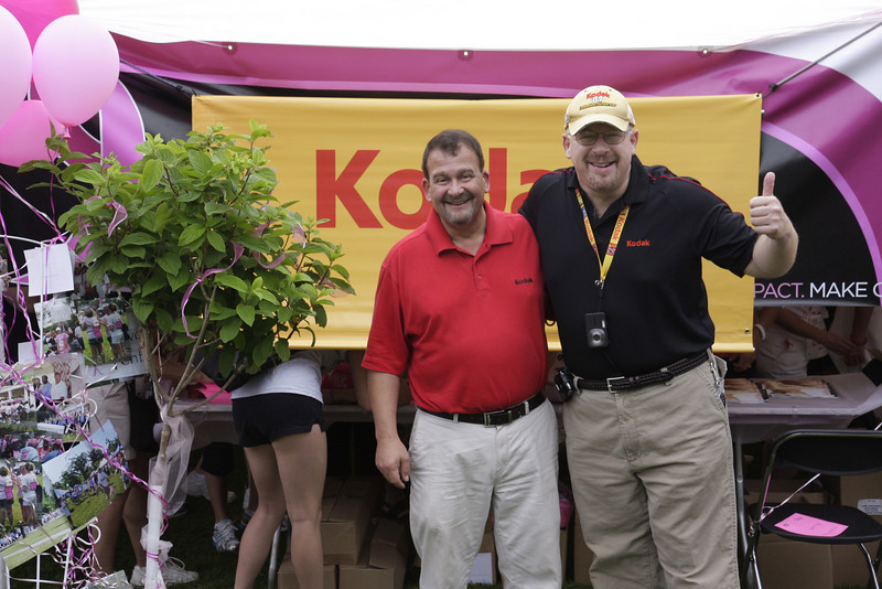 Owner Jeff Palma with David Kassnoff, Eastman Kodak comminity relations office.  Kodak donated the use of the Kiosk and all the media for the survivors pictures.
