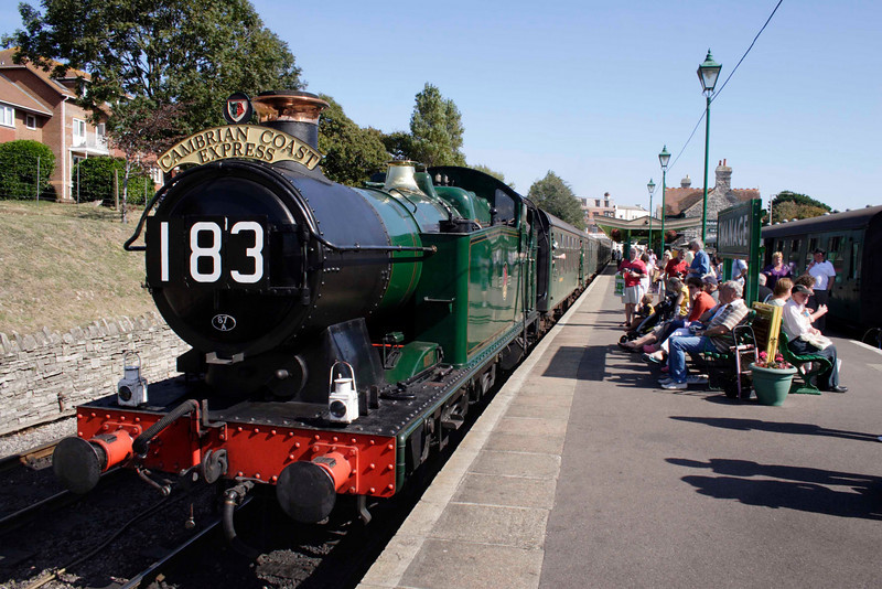 GWR062 Tank steam locomotive at Swanage railway station September 2009