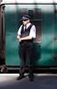 Guard at Swanage Railway Station Dorset September 2009