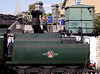 Tender of Bullied rebuilt West Country Pacific steam locomotive at coaling stage Swanage