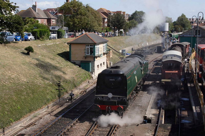 Bullied Battle of Britain Pacific steam locomotive at Swanage September 2009