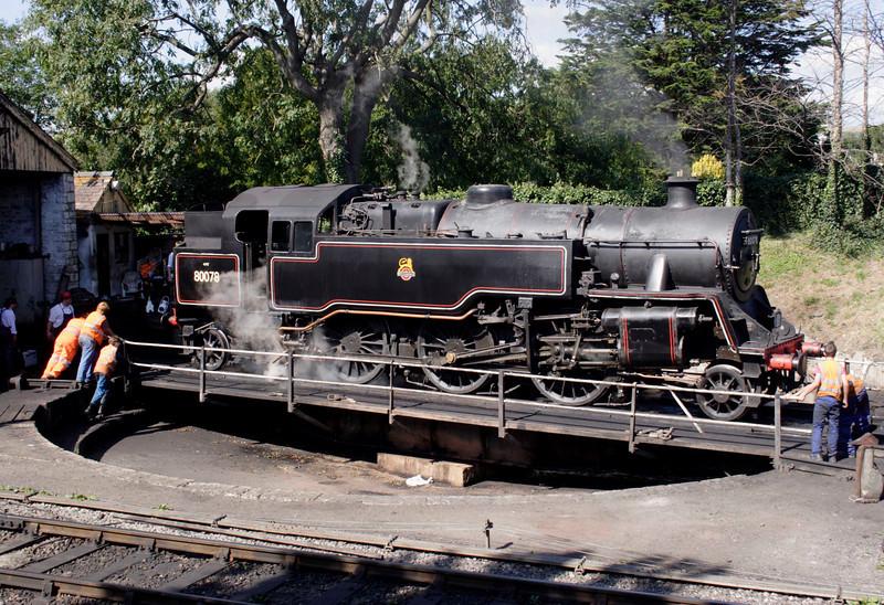 Standard 4 Tank steam locomotive on turntable at Swanage September 2009