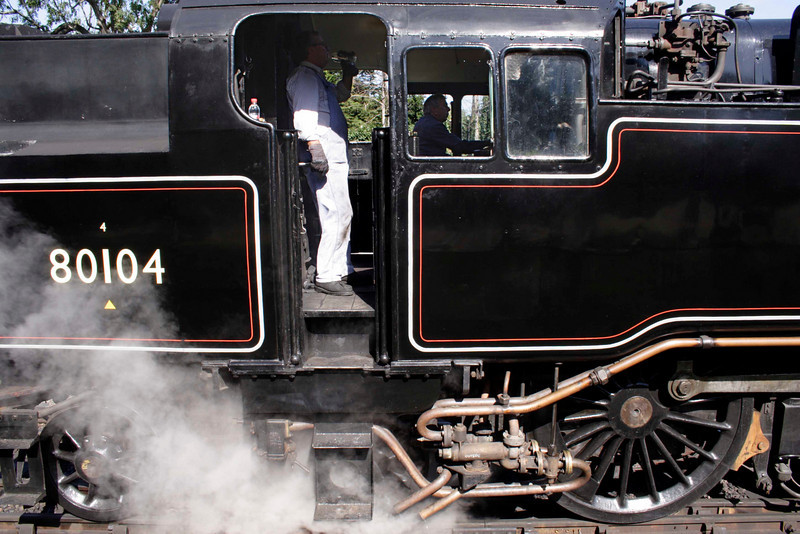 Closeup of Standard 4 Tank steam locomotive at Swanage