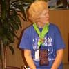 Speaker organizer Jackie Davis taking a break