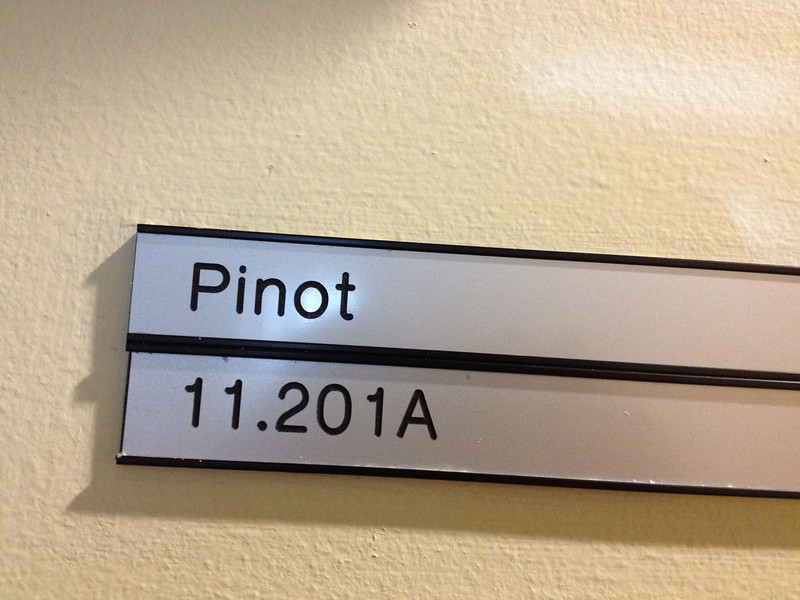 "Pinot: Downstairs in building 1. Formerly the cafe. Very large. ""Cold"" looking (and possibly colder?) due to the large amount of linoleum, from when the space was a cafe (the kitchen/serving area was on the linoleum)."