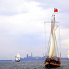 Liana's Ransom, and to the right, St. Lawrence II,behind and to the left Fair Jeanne, and US Brig Niagara,,all making good speed in the brisk wind!