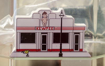 After the concert, lunch at Kewpee Hamburgers!  This Cat's Meow-type figure on display at the counter depicts the downtown Lima Kewpee location.