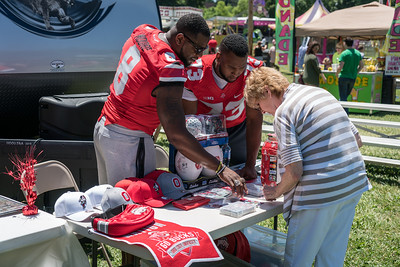 JT Moore and Antonio Underwood, members of the 2014 National Championship Team, came along to do autographs
