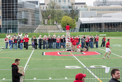 Band warmup.  Today's volunteer band was a mix of OSUMB students and alumni.