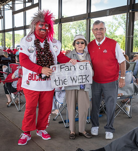 "Buckeye Man and ""Jim Tressel"" were on hand to pump up the Buckeye fans"