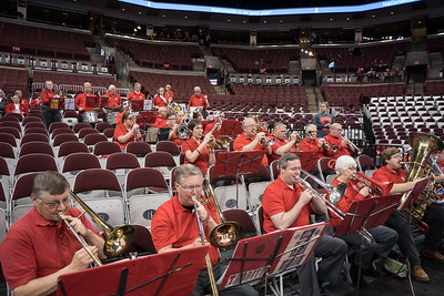 At Women's games the band enjoys plenty of elbow room