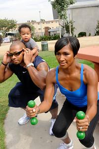 Terri J Vaughn husband Karon Riley baby son Kal'El doing squats Valerie Goodloe
