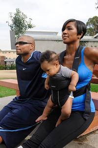 Terri J Vaughn husband Karon Riley baby son Kal'El doing bench pushups Valerie Goodloe