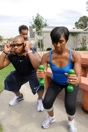 Terri J Vaughn husband Karon Riley baby son Kal'El doing squats Valerie Goodloe