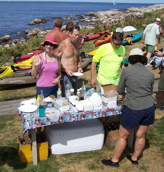 KA kayakers enjoy all the goodies provided by local merchants.