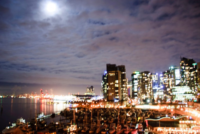 View of Vancouver and full moon from the Bayshore Wednesday night