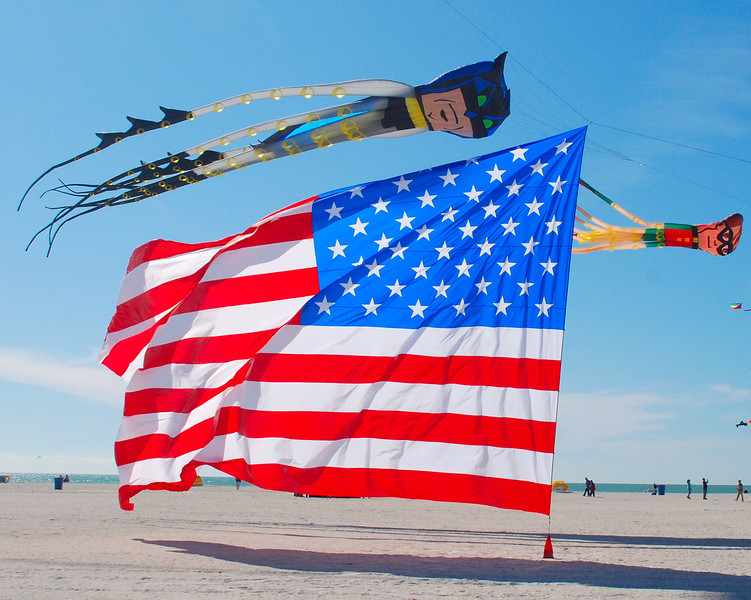Batman & Robin fly over the Stars and Stripes.