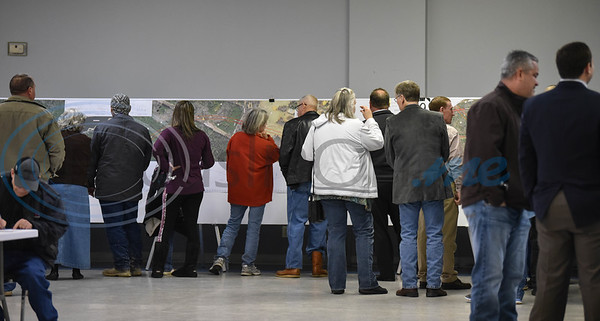 Jacksonville residents gathered at the Norman Activity Center for a Texas Department of Transportation meeting on Thursday. The public scoping meeting was held to present and gather public input on the proposed US 69 relief route. (Jessica T. Payne/Tyler Morning Telegraph)