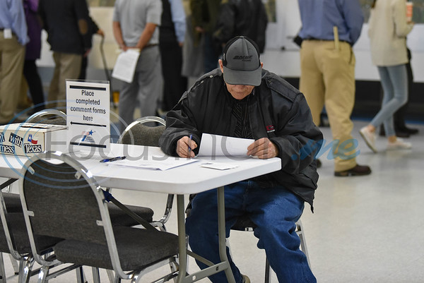 A Jacksonville resident fills out a comments form during a US 69 relief route meeting put on by the Texas Department of Transportation. The public meeting was held on Thursday at the Norman Activity Center. (Jessica T. Payne/Tyler Morning Telegraph)