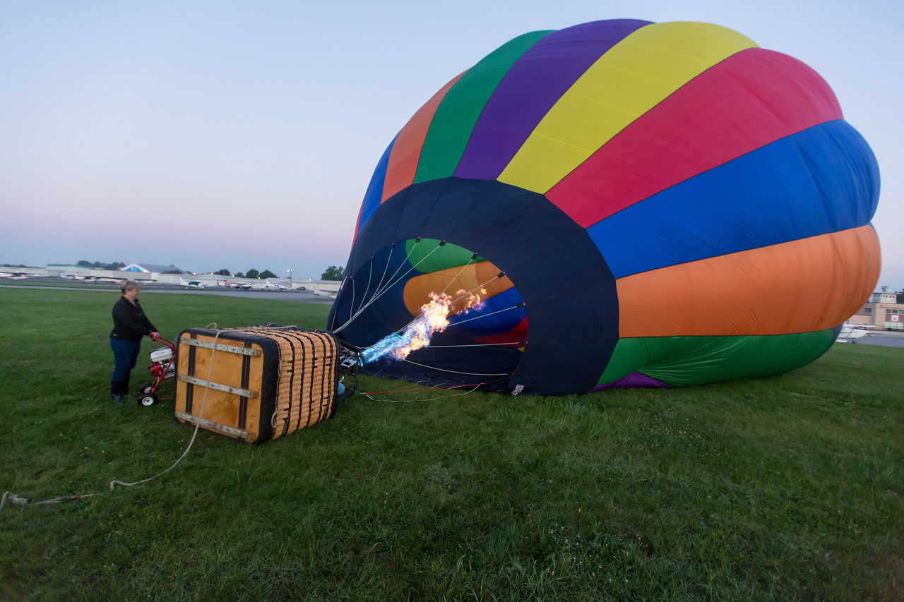 Heating the air.  At this point we had just used a fan to inflate the balloon.  I was impressed with that burner.