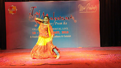 Dance performance and competition at the Taj Mohotsav which is an annual ten day event held at Agra, Uttar Pradesh, India.  Throughout the Taj Mahotsav one experiences a profusion of folk & classical music & dances of various regions, especially the Brij Bhumi, performed the way they used to be centuries ago. Besides the folk, the Mahotsav also exhibit the performance from the world renowned artistes from classical, semi-classical and popular art forms.