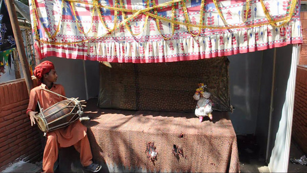 Puppet show at the Taj Mohotsav which is an annual ten day event held at Agra, Uttar Pradesh, India.