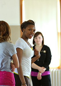 Siya teaching in the African Dance class