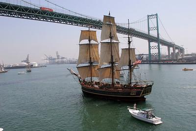 The Bounty under the Vincent Thomas Bridge.