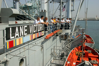 My viewpoint was from the USS Lane Victory, a WWII cargo ship which is now a museum in San Pedro, California.
