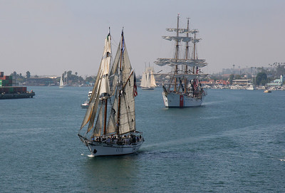 The Coast Guard Barque Eagle (2nd ship) was the largest ship in the sailing parade.