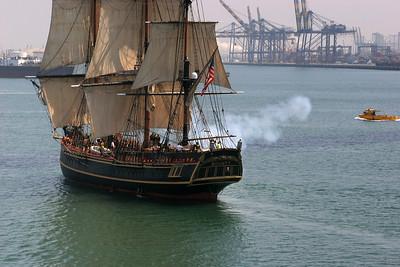The Bounty make a cannon salute.