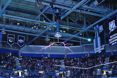 Tesla coils that shoot out electricity when the Lightning score