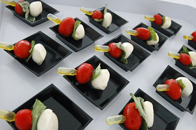 Caprese Skewers with Extra Virgin Olive Oil Pipette