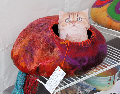 "A felted ""Cat Cave""."