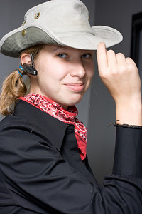 Abby as an urban cowgirl.