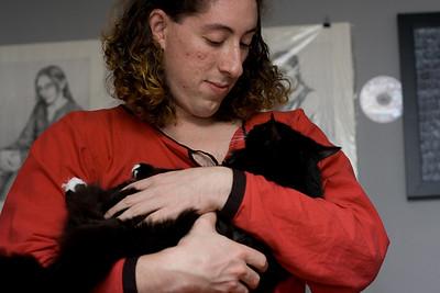 Mercutio with an unidentified cat.