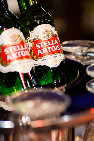 Although there are bottles on display, today I will illustrate a proper  Stella Artois service from a tap pour.