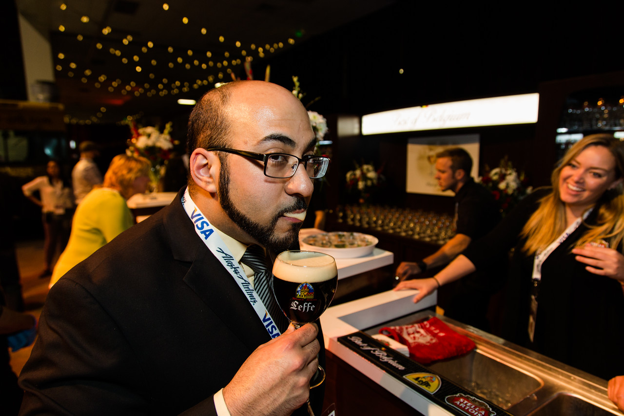 9 out of 10 sommeliers approve of beer mustaches. Pictured here: Sommelier Yashar Shayan