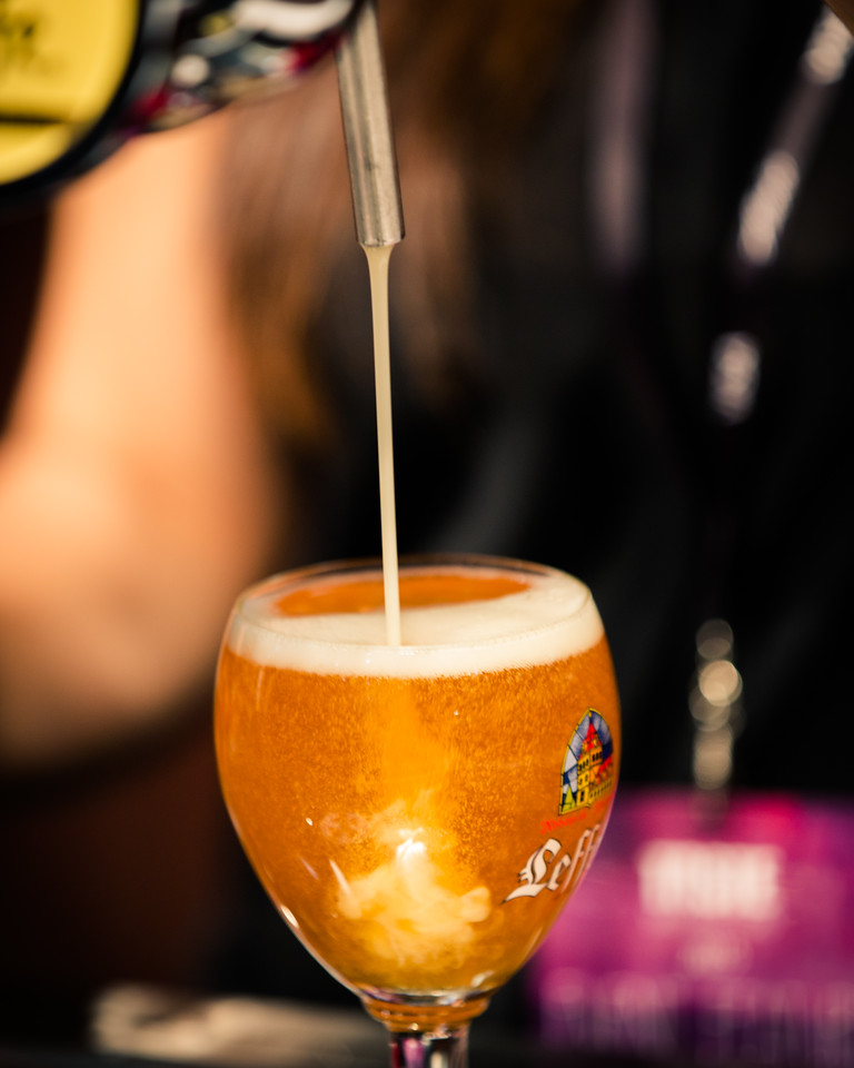 Yeast also determines the shape and consistency of the bubbles formed in the beer.  As you can see here Leffe has some great bubbles from it's Belgian yeast.