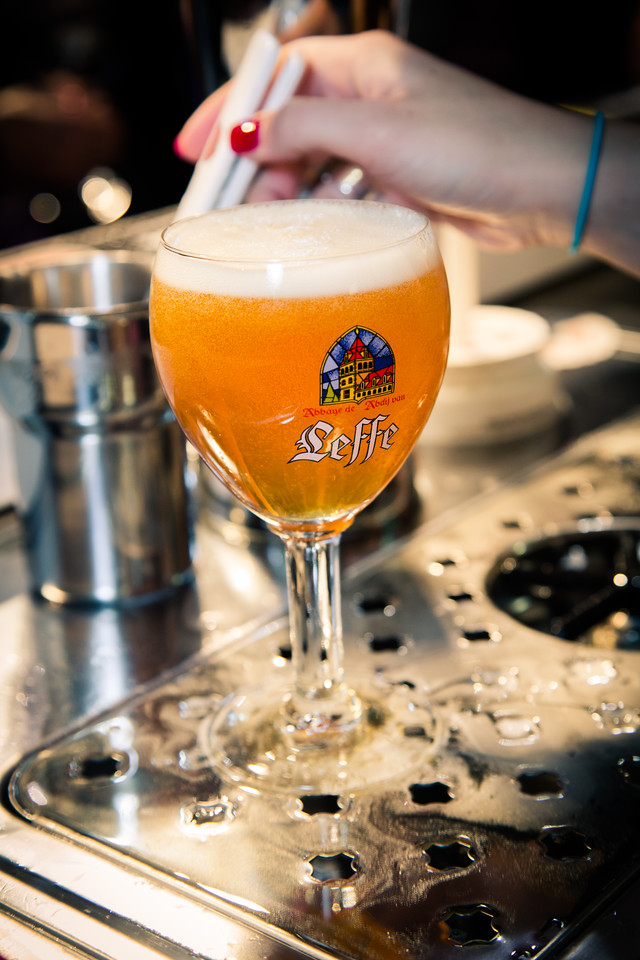 Another perfect pour.  Leffe's open chalice style glass will dissipate the foam faster than the Stella glass.  That's OK though, because we want the beer to be more open to oxygen and our senses.